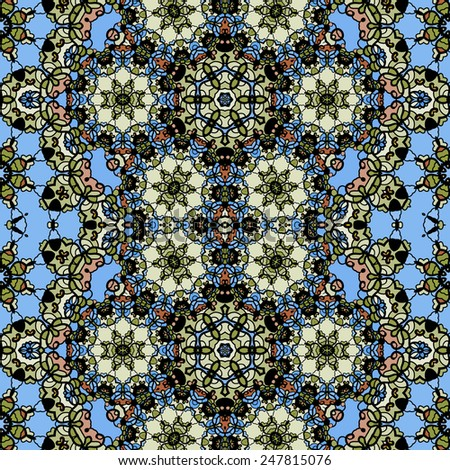 Ornamental ornate tribal style seamless wallpaper in blue color. - stock vector