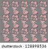 Ornamental pattern for knitting and embroidery (cats) - stock photo