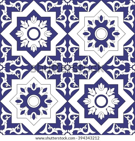Ornamental pattern seamless vector blue and white color. Azulejo, portuguese tiles, celtic, spanish, moroccan, talavera, turkish or delft dutch tiles design with flowers motifs. - stock vector