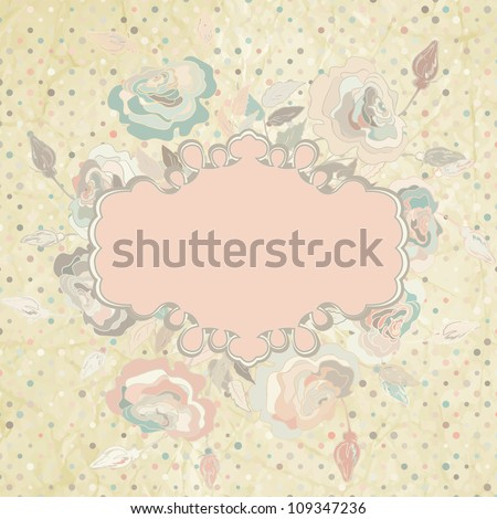 Ornamental pink roses frame on beidge polka dot background with space for your text or design. And also includes EPS 8 vector - stock vector