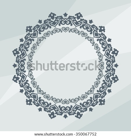 Ornamental round frame in eastern style on abstract background. Oriental motifs - stock vector
