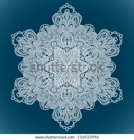 Ornamental Round Lace, circle background with many details, looks like crocheting handmade lace - stock vector