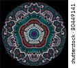 ornamental round lace, circle ornament - stock vector