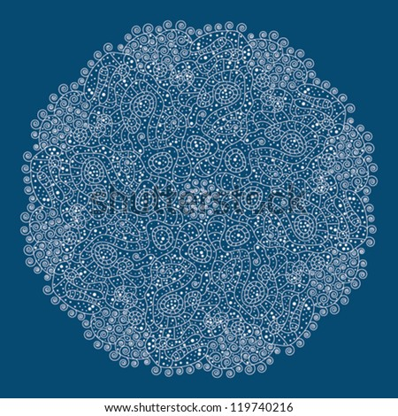 Ornamental round lace pattern, circle background with many details, looks like crocheting handmade lace on grunge background, lacy arabesque designs. Oriental motif - stock vector