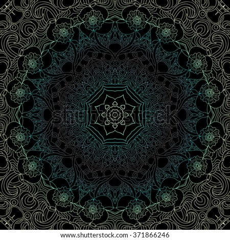 Ornamental round lace pattern, circle background with many details, looks like crocheting handmade lace. Mandala. Spring colors, gradient. Seamless pattern. Vector. Black background - stock vector