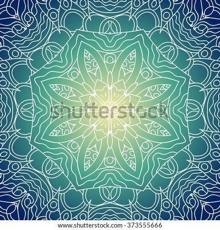 Ornamental round lace pattern, circle background with many details, looks like handmade lace. White Mandala. Blue and yellow colors, gradient. Seamless pattern. Use it as web, fabric, wrapping - stock vector