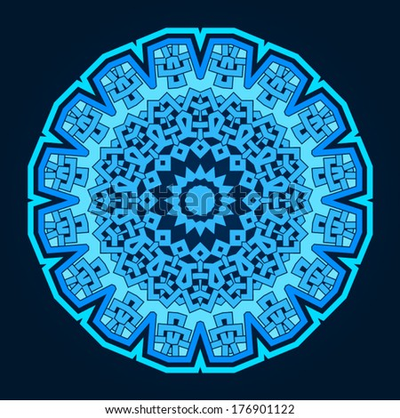 Ornamental round pattern in islamic style isolated vector illustration