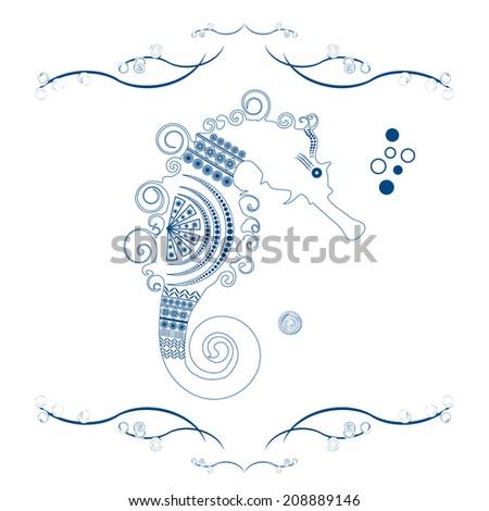 Ornamental  sea horse - stock vector