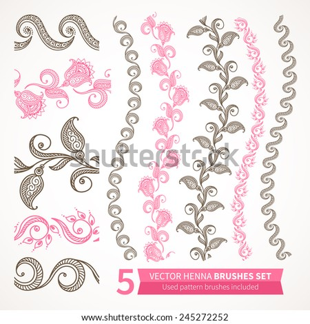 Ornamental seamless borders. Vector set with abstract floral elements in indian style. Henna collection. Used pattern brushes included - stock vector