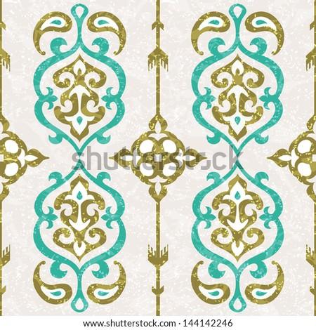 Ornamental seamless pattern in oriental style - stock vector