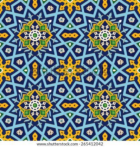 Ornamental seamless pattern. Vector geometrical islamic, Ottoman, Turkish tile background - stock vector