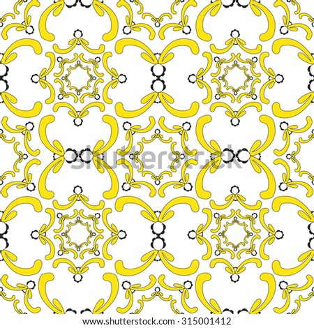 Ornamental seamless pattern. Vintage template. Soft yellow elements on the white background. Light filigree texture. - stock vector