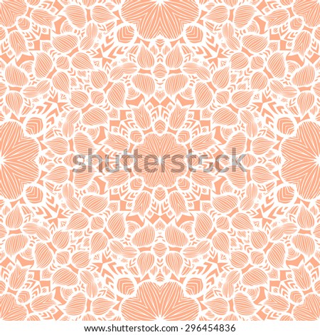 Ornamental Seamless Pattern. White Lace Texture on Peach Background.