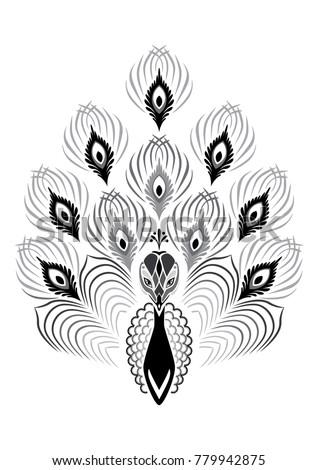 Ornamental Silhouette Peacock Template Print Tattoo Stock Vector