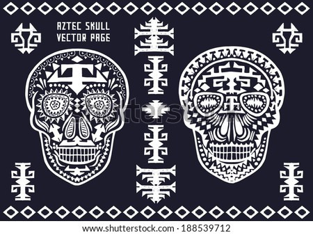 Ornamental Skull - Aztec pattern vector board - stock vector