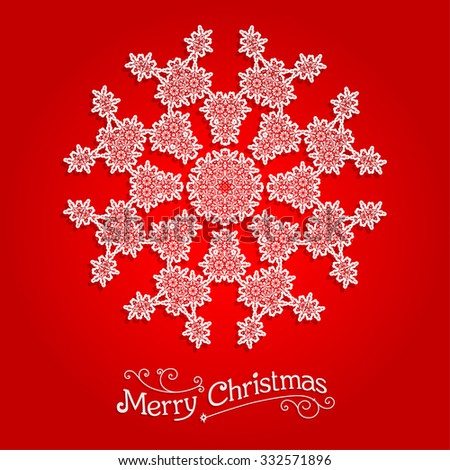 Ornamental snowflake on red background.  Big holiday snowflake. Design for card, banner, invitation, leaflet and so on. - stock vector