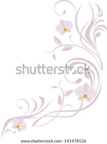 Ornamental sprig with orchids isolated on the white. Vector - stock vector