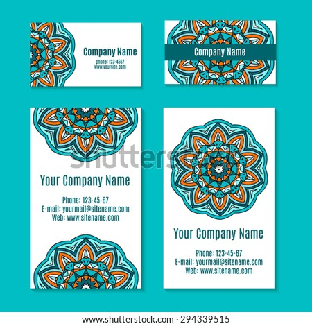 Ornamental template business card flyer banner stock vector royalty ornamental template for business card flyer or banner with round zentangle mandala vintage indian reheart Choice Image