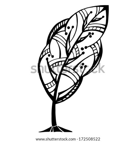 Ornamental tree graphically. Vector
