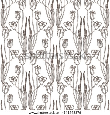 Ornamental tulips pattern. - stock vector