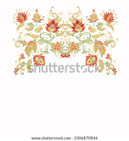 Ornamental vector floral composition on white background