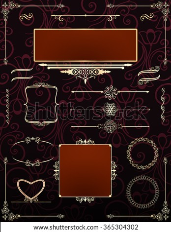 Ornamental victorian frames and rule lines with scrolls and flourishes. All elements  in separate layers for easy editing. Vector. - stock vector