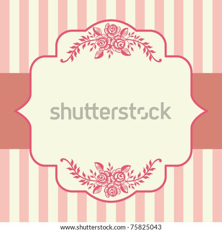 Ornamental victorian roses pink frame with space for your text, logo or design. All elements are on separate layers for easy editing and color change. - stock vector