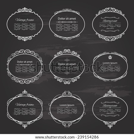 Ornamental vintage frame and label set on chalkboard background.  - stock vector