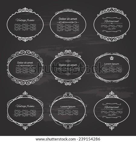 Ornamental vintage frame and label set on chalkboard background.  - stock vector