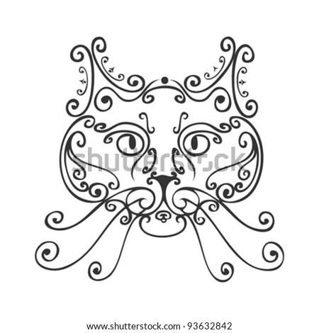 ornamented abstract cat - stock vector
