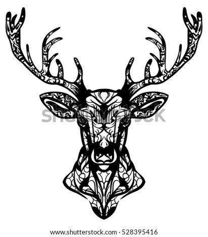 Zentangle Stylized Baby Deer Animals Hand Stock Vector