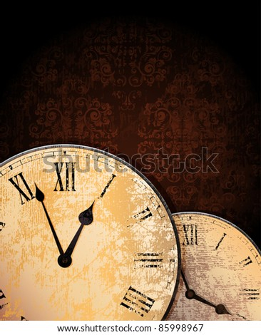 ornamented grungy background with old clocks. eps10 vector.