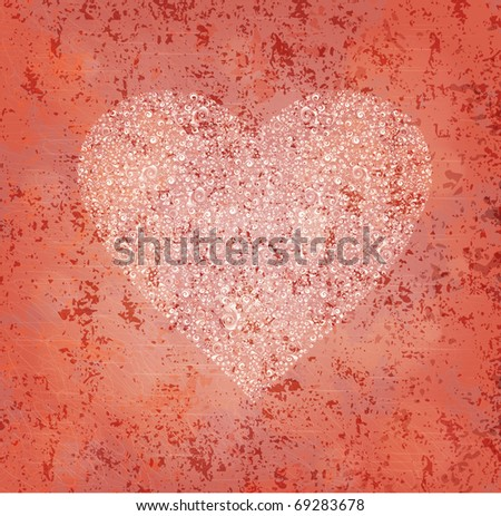 Ornamented heart on grungy background. Eps10