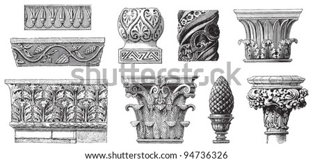 Ornaments collection / vintage illustrations from Meyers Konversations-Lexikon 1897 - stock vector