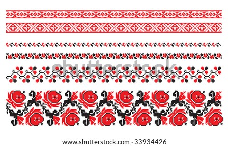 ornaments of ukrainian embroidery - set 8 - stock vector
