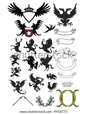 Ornaments Ribbons and Crests - stock vector