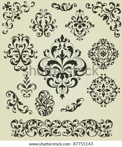 Ornaments set - stock vector