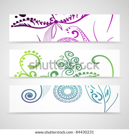 ornate banner in different colors - stock vector