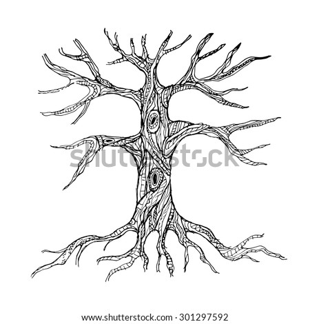 Ornate bare tree trunk with roots. Vector illustration - stock vector