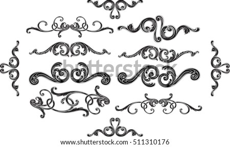Ornate baroque splendid design set is on white