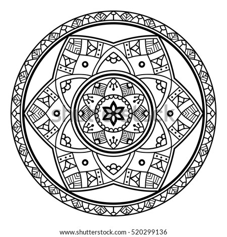 Ornate black floral mandala on the white background. Orient motif