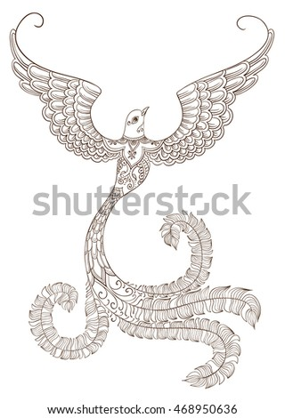 Ornate brown doodle bird outline on white background