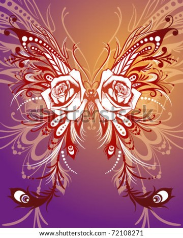 Ornate Butterfly - stock vector