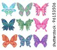 Ornate Butterfly Collection (Hand Drawn) - stock vector