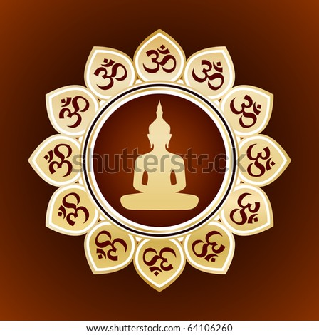 ornate card with buddha - stock vector