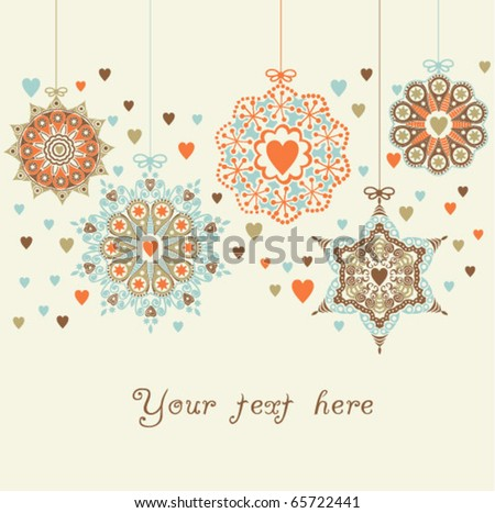 ornate christmas balls in hearts snowfall - stock vector