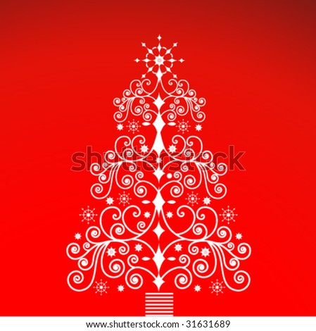 ornate christmas tree (grouped with separate elements) - stock vector