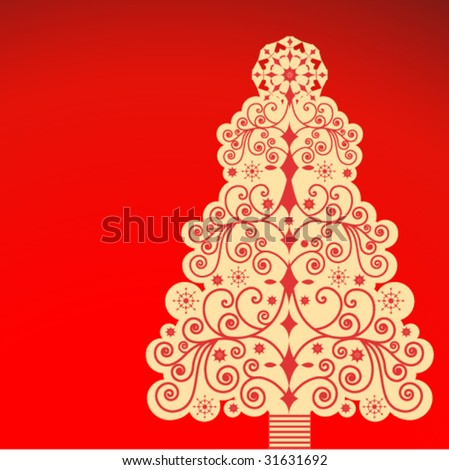 ornate christmas tree (grouped with separate elements) with shaded background - stock vector