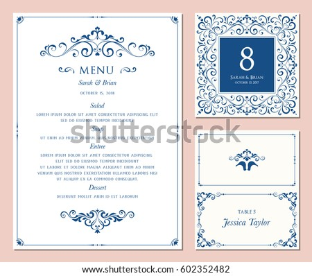 Ornate Classic Templates Set Vintage Style Stock Vector - Menu place cards template