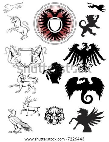 ornate crest emblems - stock vector